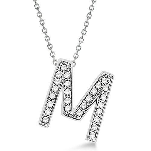 Custom Tilted Diamond Block Letter Initial Necklace in 14k White Gold