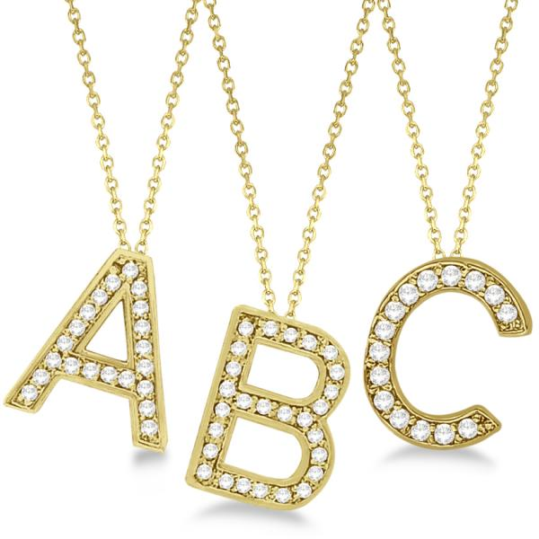 diamond letter necklace custom tilted block letter initial necklace 14k 21360