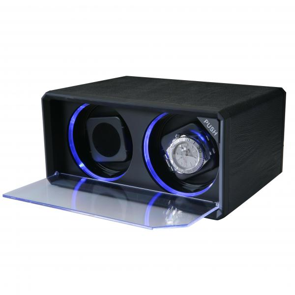 Black Leather & Blue LED Lights Vertical Dual Watch Winder
