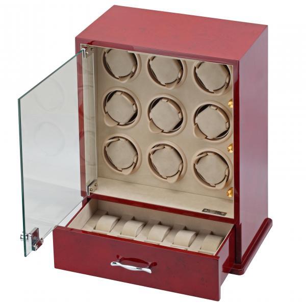 9 Watch Winder & Watch Case in Cherry Wood w/ Glass Door