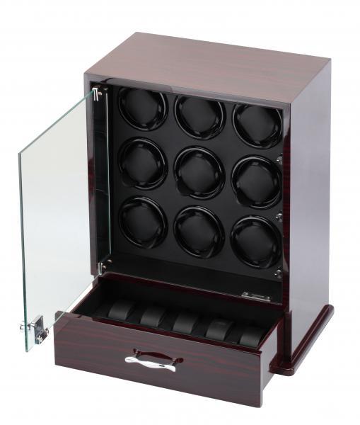 Ebony Wood 9 Watch Winder and Watch Storage Box