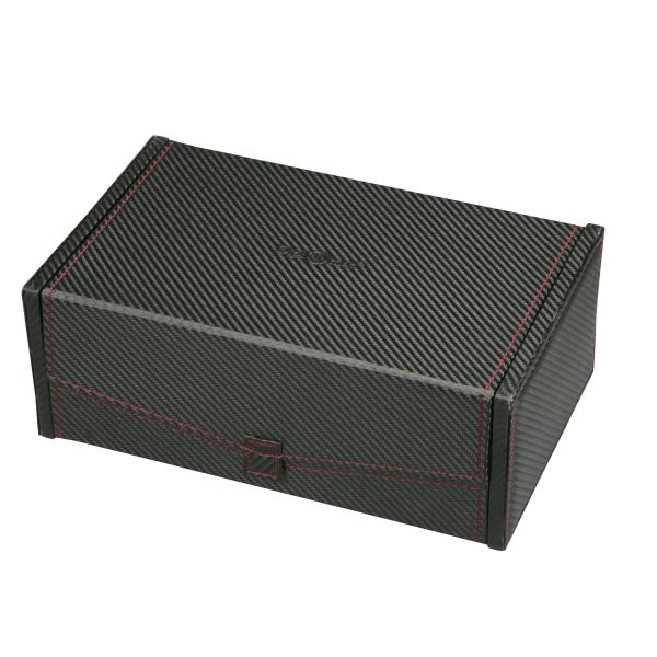 Men's Ten Watch Box Case & Removable Trays in Black w/ Red Stitching