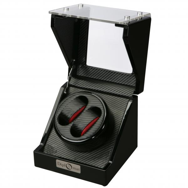 High Gloss Black Double Watch Winder Cube