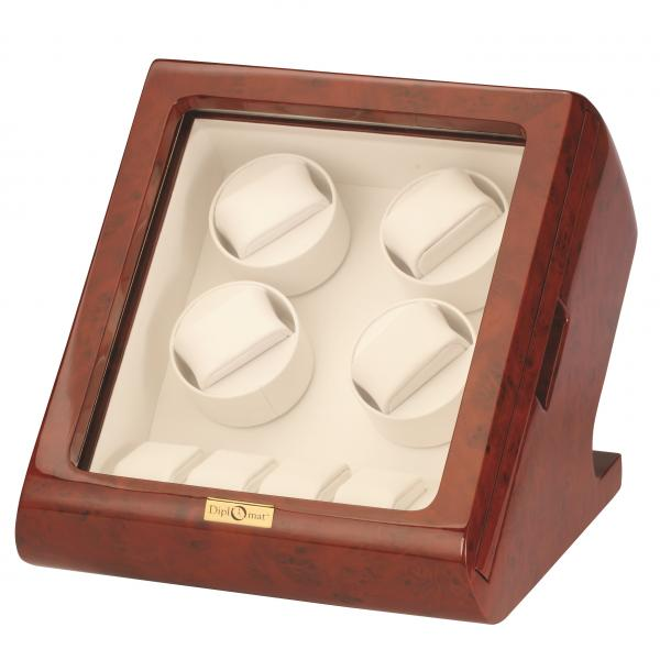 Burlwood Slider Quad Watch Winder and Watch Storage