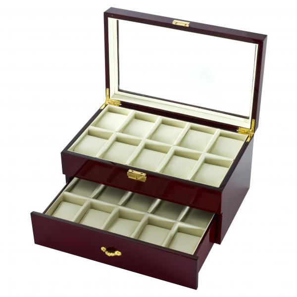 Two Tier 20 Watch Box Case in Cherrywood w/ Locking Lucite Display Top