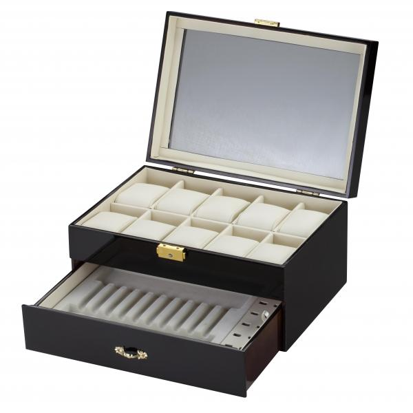 10 Watch Box w/ Pen & Cufflink Storage in Black Wood