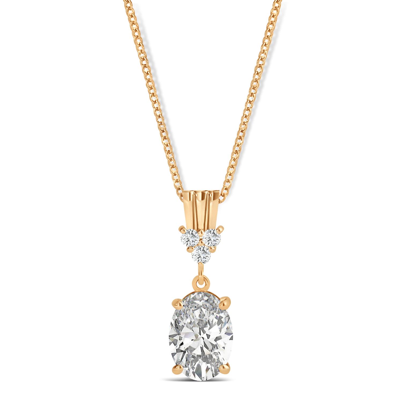 Oval Shape Diamond Pendant Necklace 14k Rose Gold (1.05ct)
