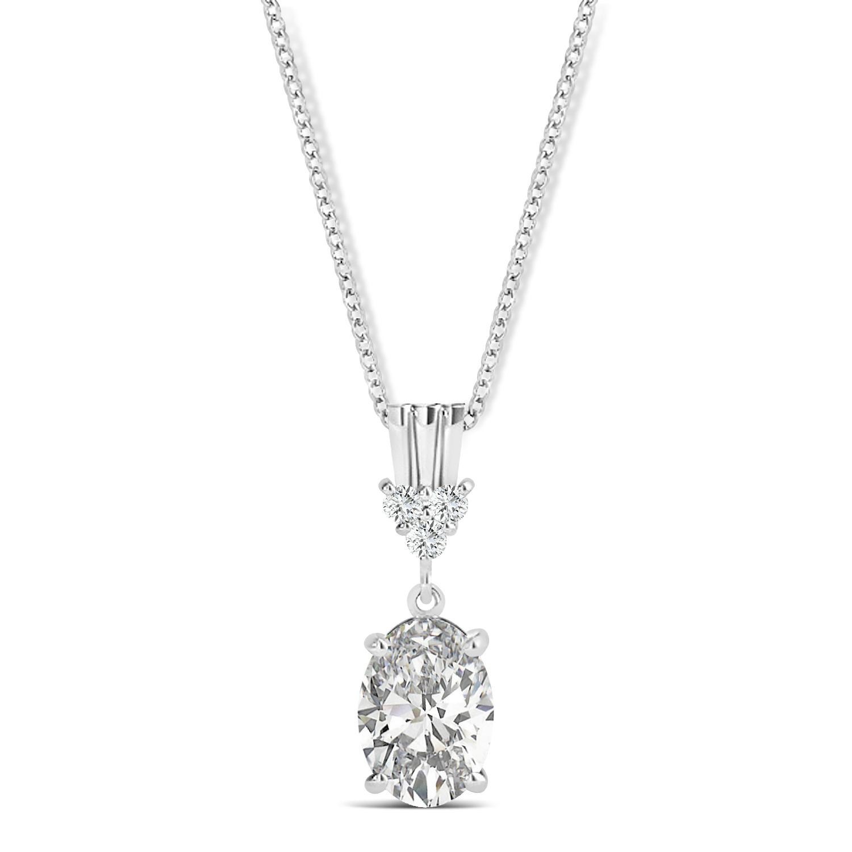 Oval Shape Diamond Pendant Necklace 14k White Gold (0.80ct)