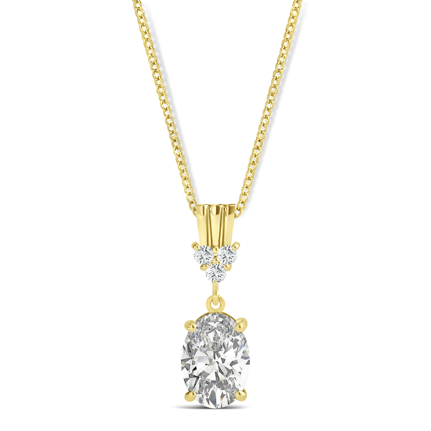 Oval Shape Diamond Pendant Necklace 14k Yellow Gold (0.80ct)