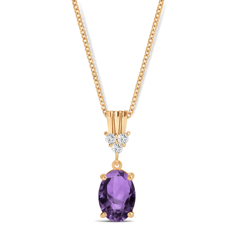 Oval Shape Amethyst & Diamond Pendant Necklace 14k Rose Gold (0.90ct)