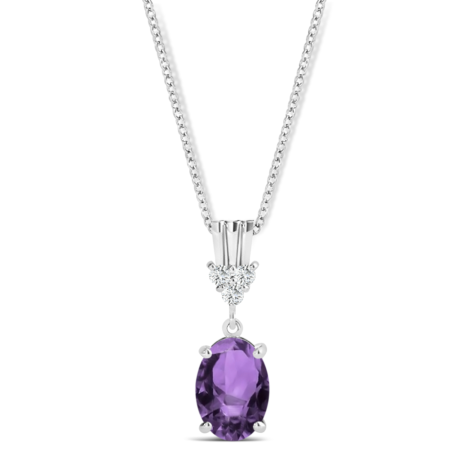 Oval Shape Amethyst & Diamond Pendant Necklace 14k White Gold (0.90ct)