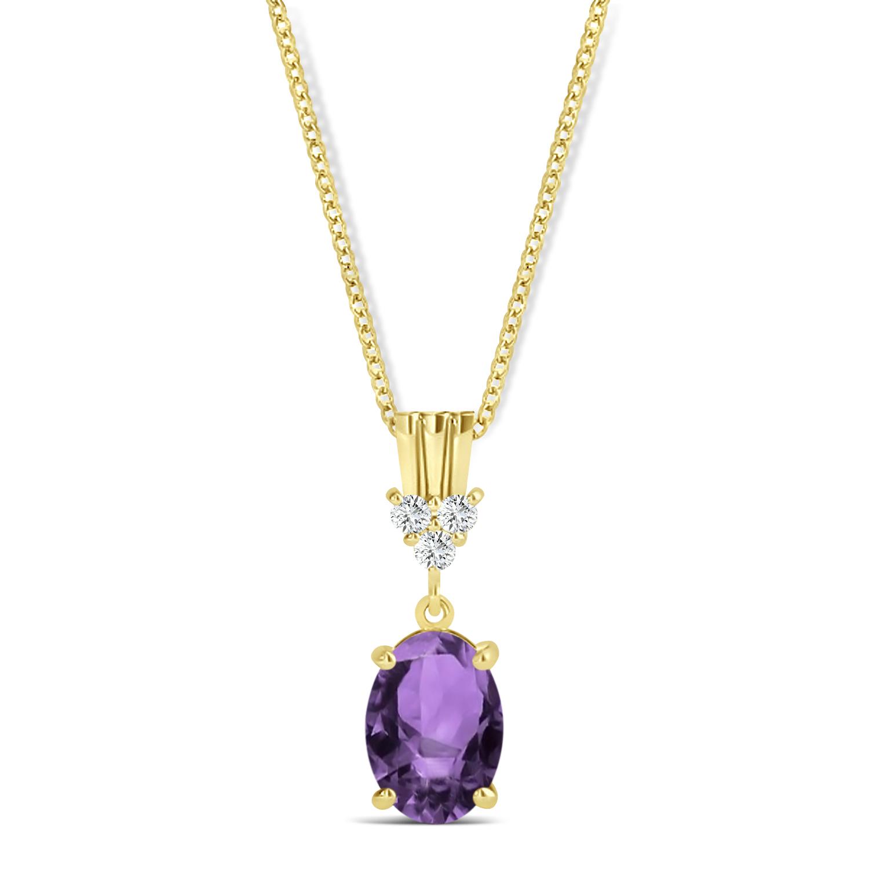 Oval Shape Amethyst & Diamond Pendant Necklace 14k Yellow Gold (0.90ct)