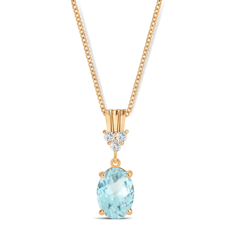 Oval Shape Aquamarine & Diamond Pendant Necklace 14k Rose Gold (0.80ct)