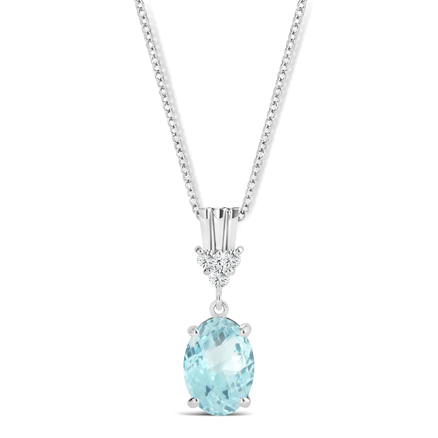 Oval Shape Aquamarine & Diamond Pendant Necklace 14k White Gold (0.80ct)