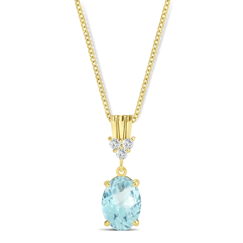 Oval Shape Aquamarine & Diamond Pendant Necklace 14k Yellow Gold (0.80ct)