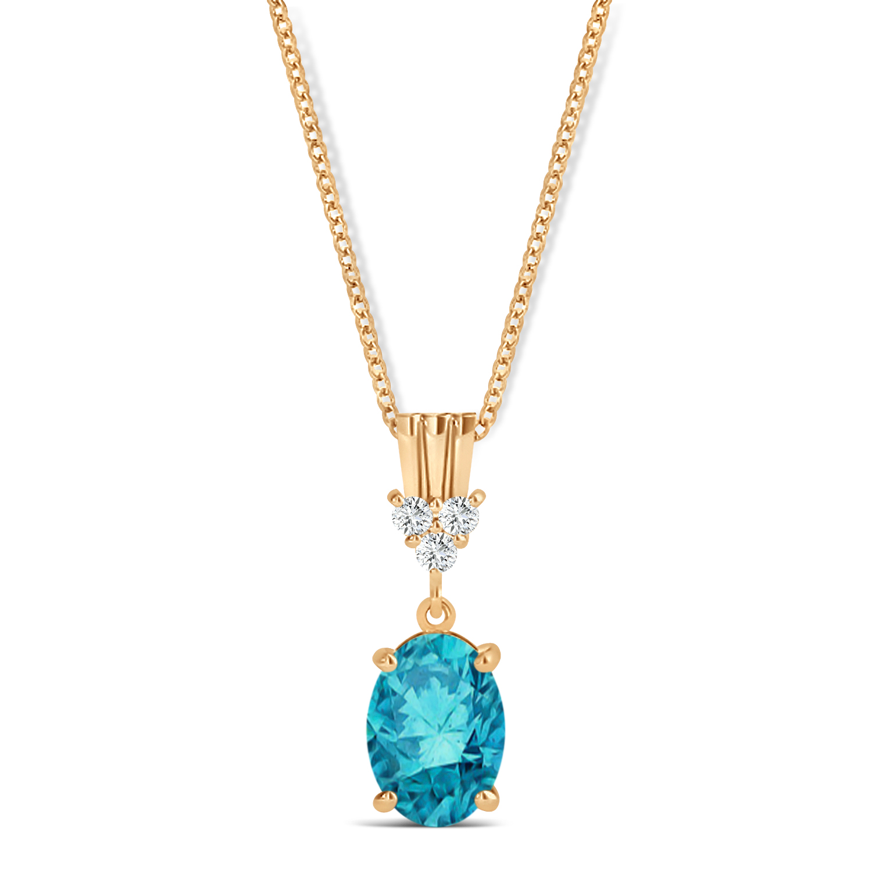 Oval Shape Blue Diamond & Diamond Pendant Necklace 14k Rose Gold (0.80ct)