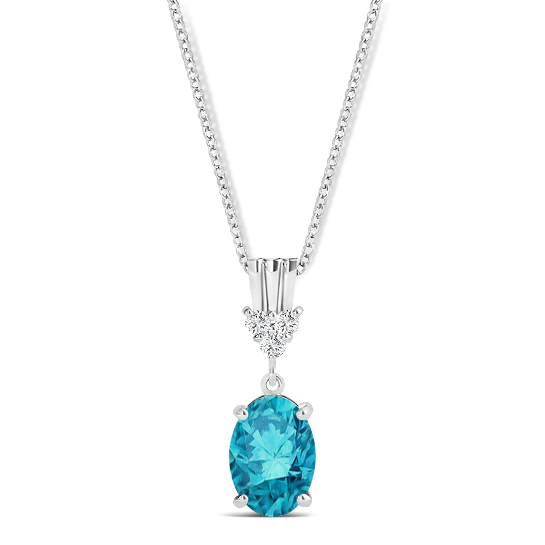 Oval Shape Blue Diamond & Diamond Pendant Necklace 14k White Gold (0.80ct)