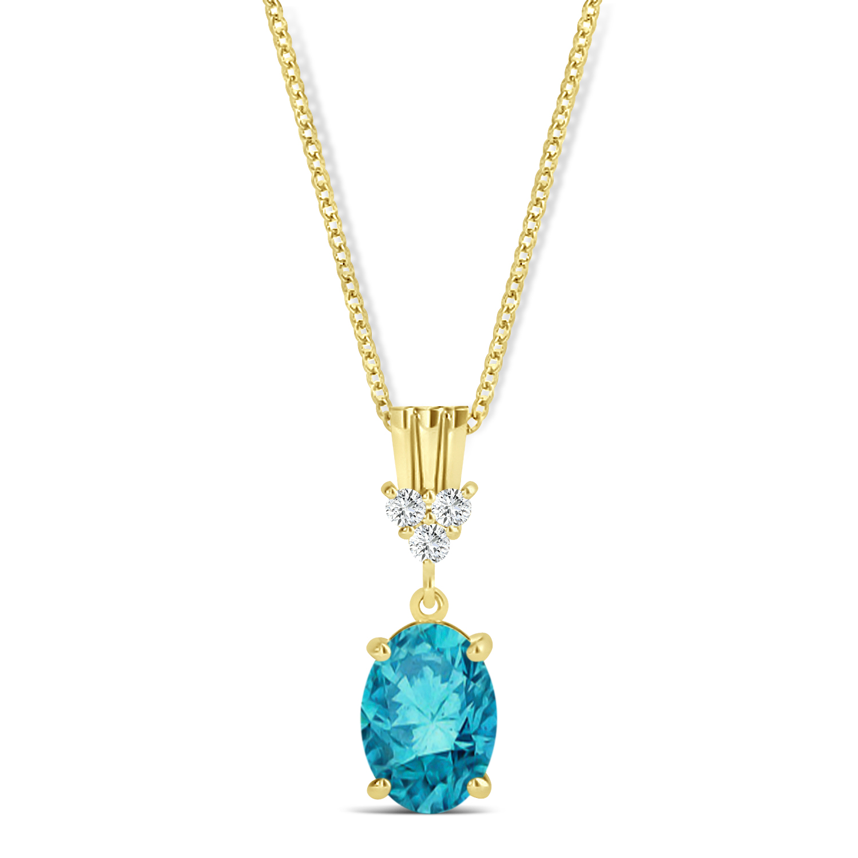 Oval Shape Blue Diamond & Diamond Pendant Necklace 14k Yellow Gold (0.80ct)