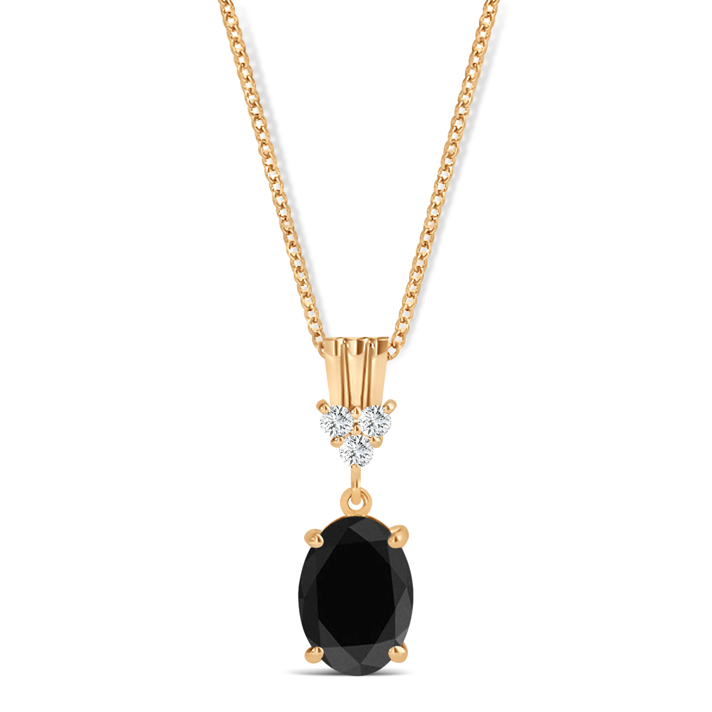 Oval Shape Black Diamond & Diamond Pendant Necklace 14k Rose Gold (0.80ct)
