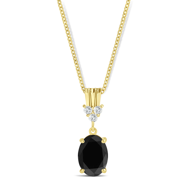 Oval Shape Black Diamond & Diamond Pendant Necklace 14k Yellow Gold (0.80ct)