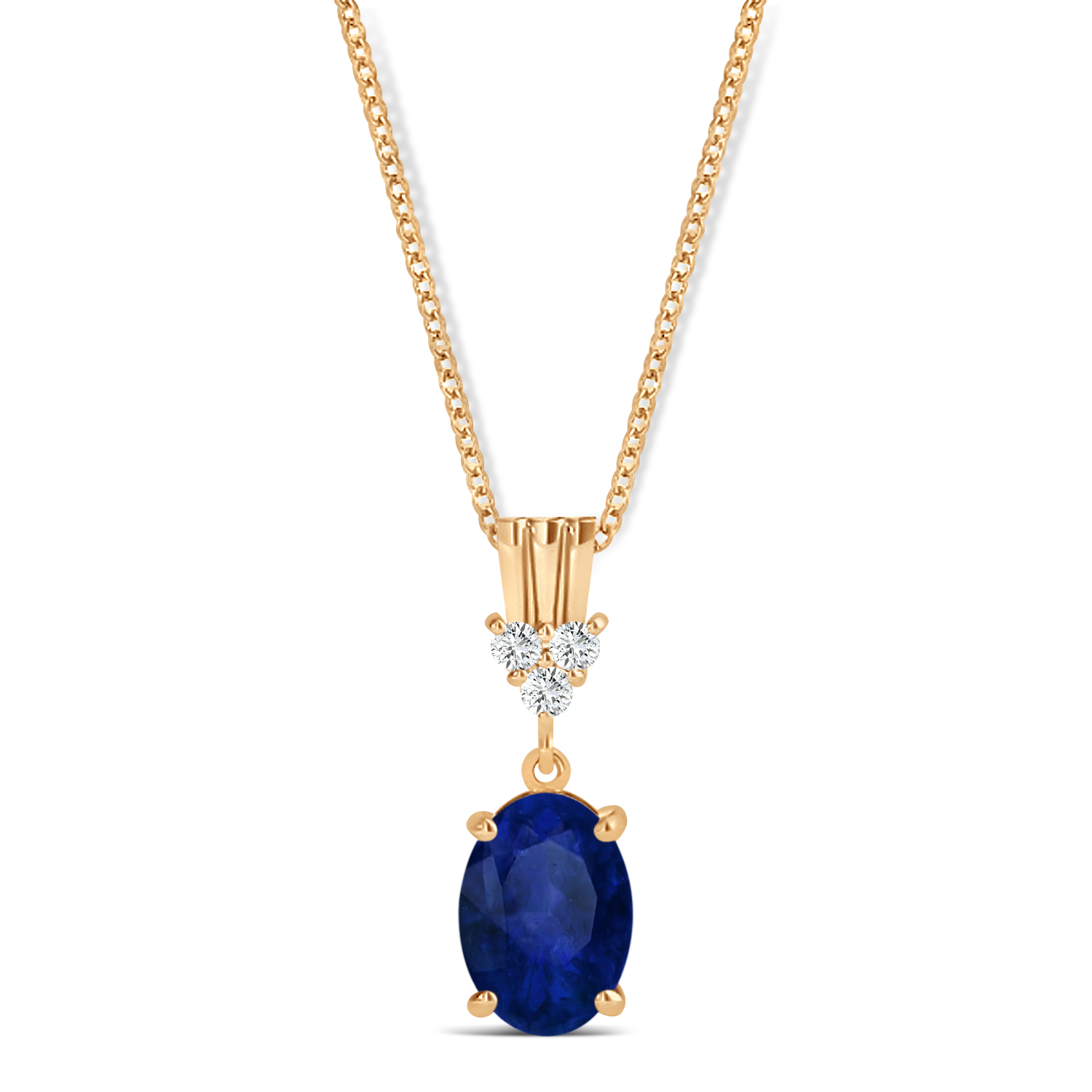Oval Shape Blue Sapphire & Diamond Pendant Necklace 14k Rose Gold (1.05ct)