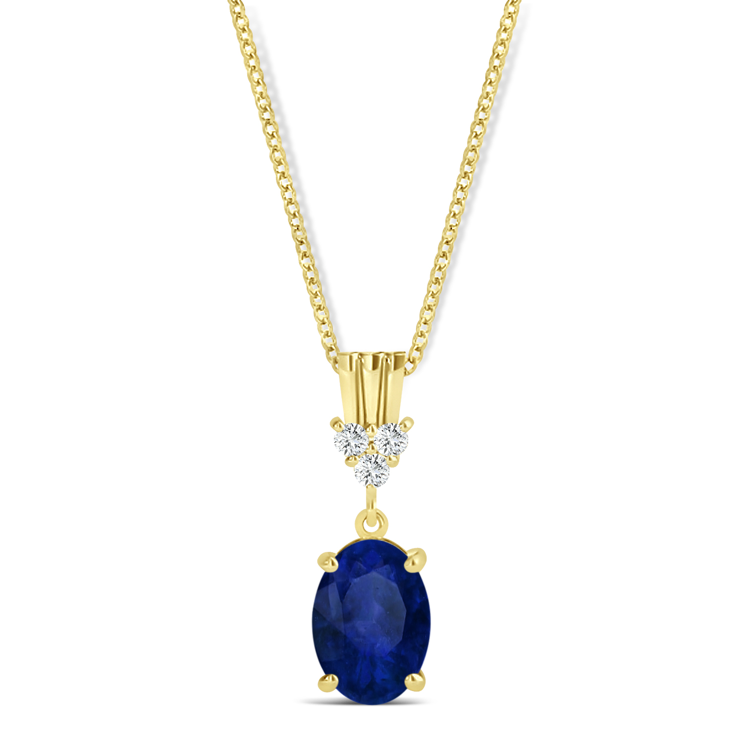 Oval Shape Blue Sapphire & Diamond Pendant Necklace 14k Yellow Gold (1.05ct)