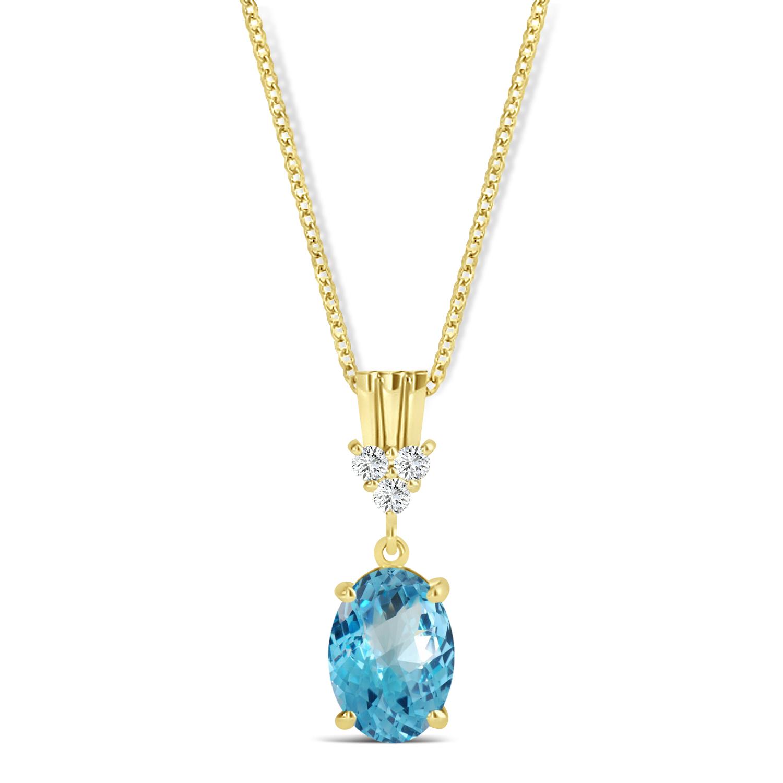 Oval Shape Blue Topaz & Diamond Pendant Necklace 14k Yellow Gold (1.15ct)