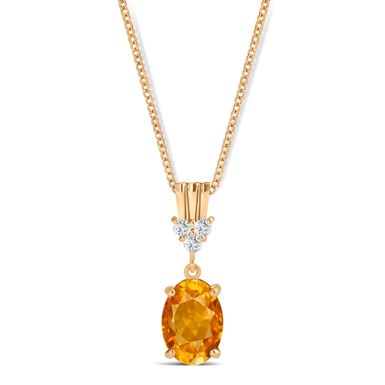 Oval Shape Citrine & Diamond Pendant Necklace 14k Rose Gold (0.90ct)