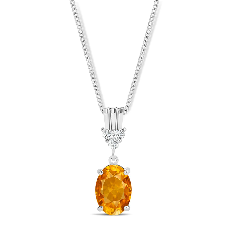 Oval Shape Citrine & Diamond Pendant Necklace 14k White Gold (0.90ct)