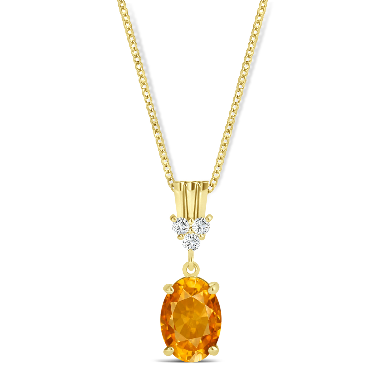 Oval Shape Citrine & Diamond Pendant Necklace 14k Yellow Gold (0.90ct)