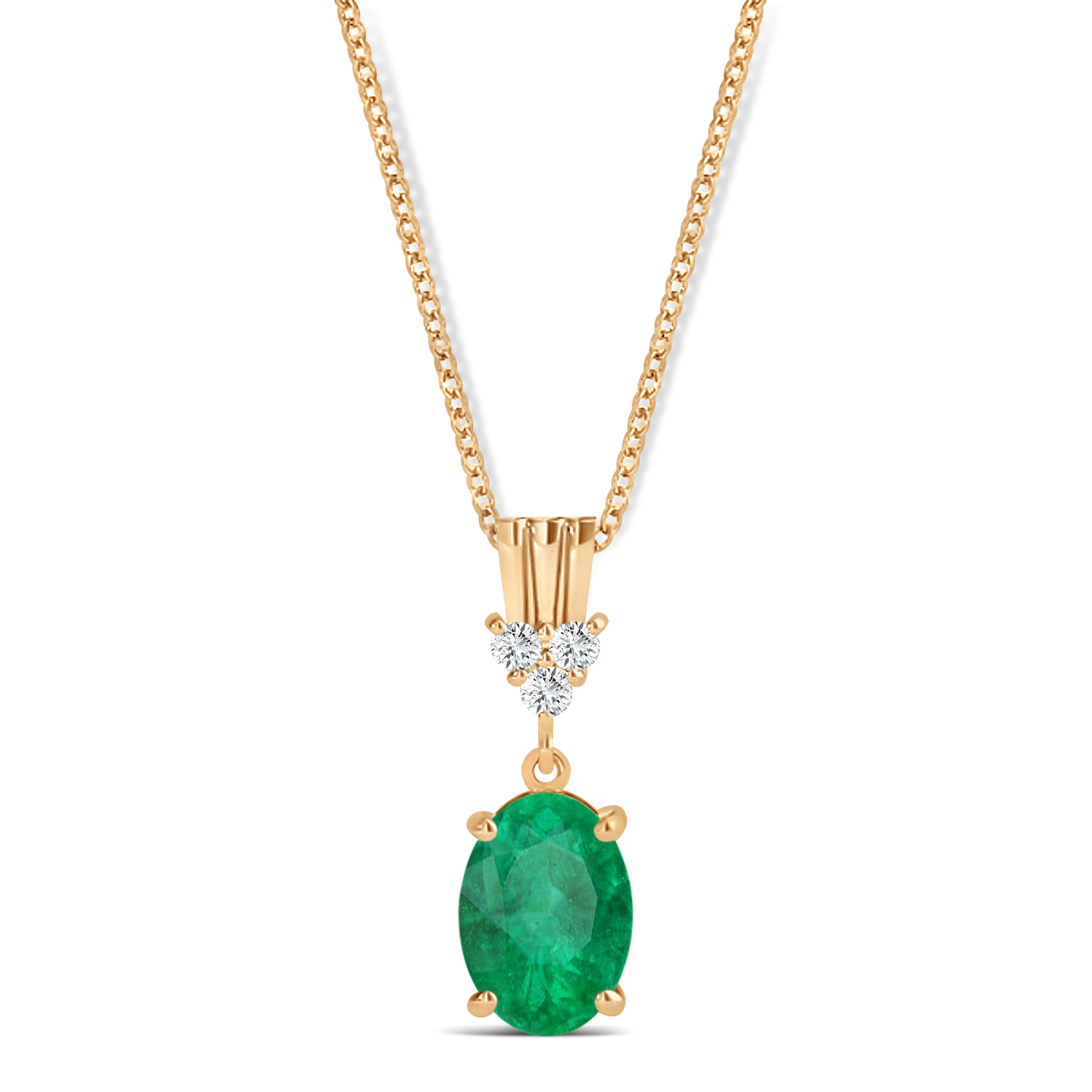 Oval Shape Emerald & Diamond Pendant Necklace 14k Rose Gold (0.90ct)