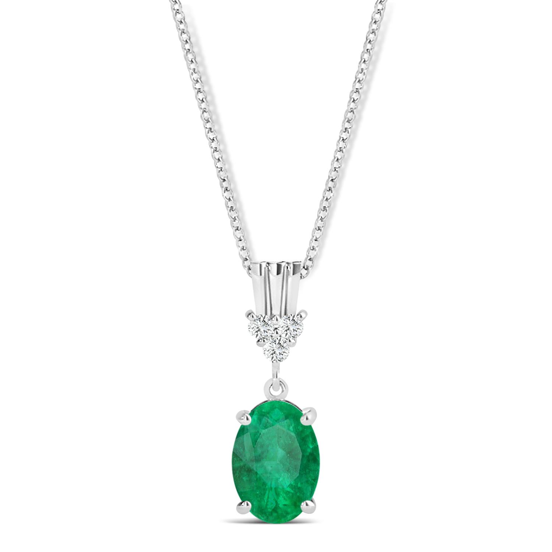 Oval Shape Emerald & Diamond Pendant Necklace 14k White Gold (0.90ct)