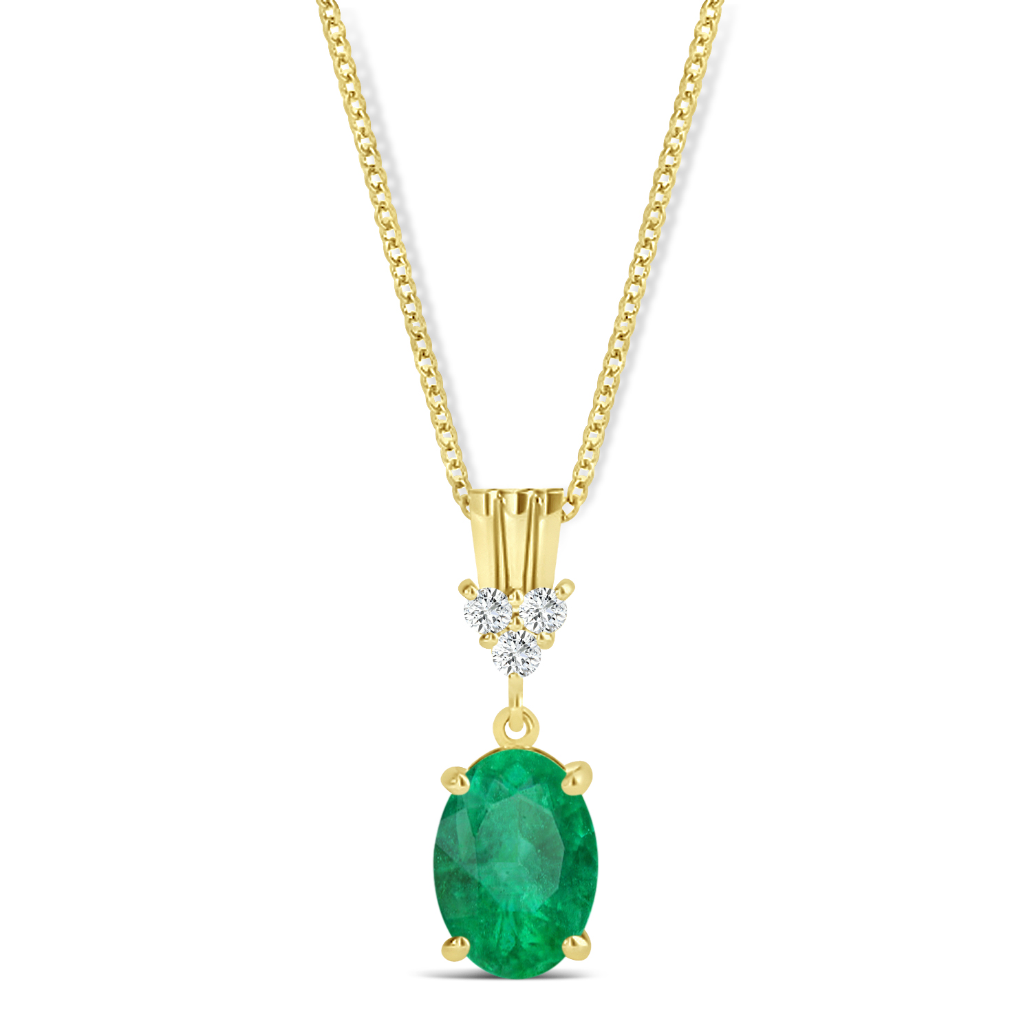 Oval Shape Emerald & Diamond Pendant Necklace 14k Yellow Gold (0.90ct)