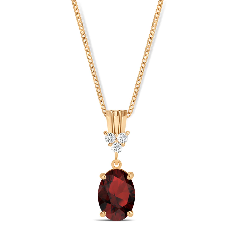 Oval Shape Garnet & Diamond Pendant Necklace 14k Rose Gold (1.05ct)