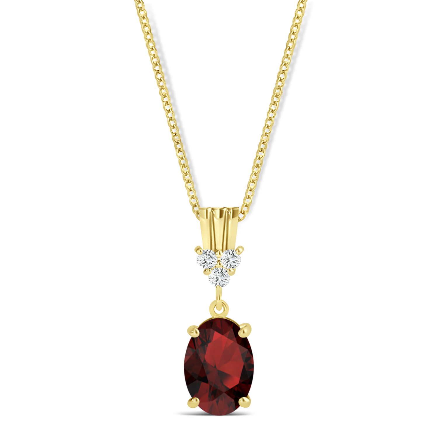 Oval Shape Garnet & Diamond Pendant Necklace 14k Yellow Gold (0.90ct)