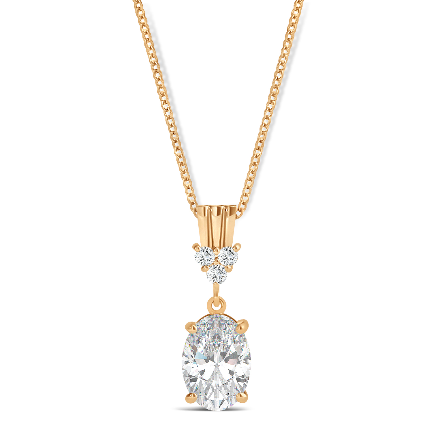 Oval Shape Moissanite & Diamond Pendant Necklace 14k Rose Gold (0.90ct)