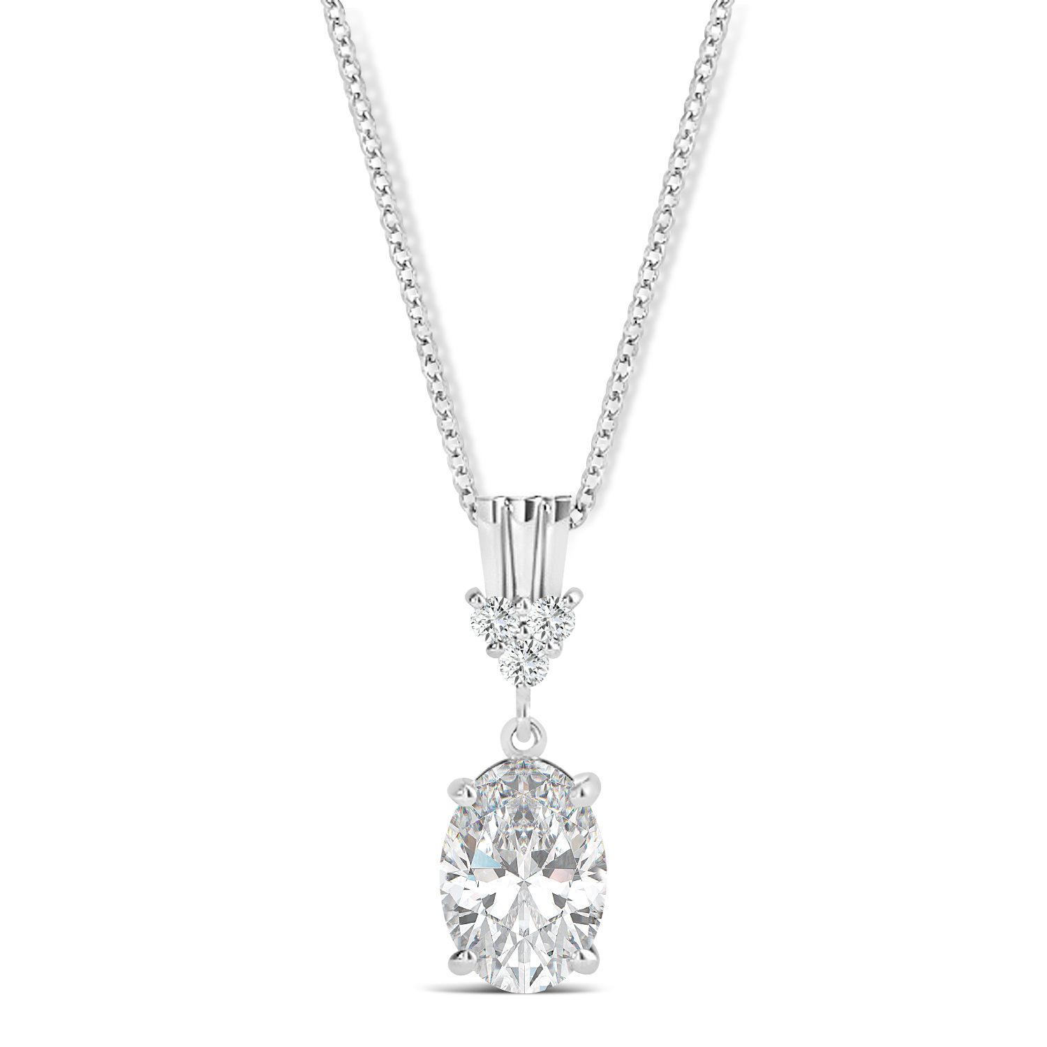 Oval Shape Moissanite & Diamond Pendant Necklace 14k White Gold (0.90ct)