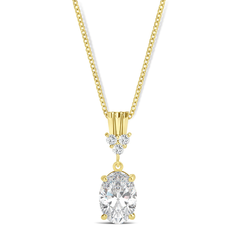 Oval Shape Moissanite & Diamond Pendant Necklace 14k Yellow Gold (0.90ct)
