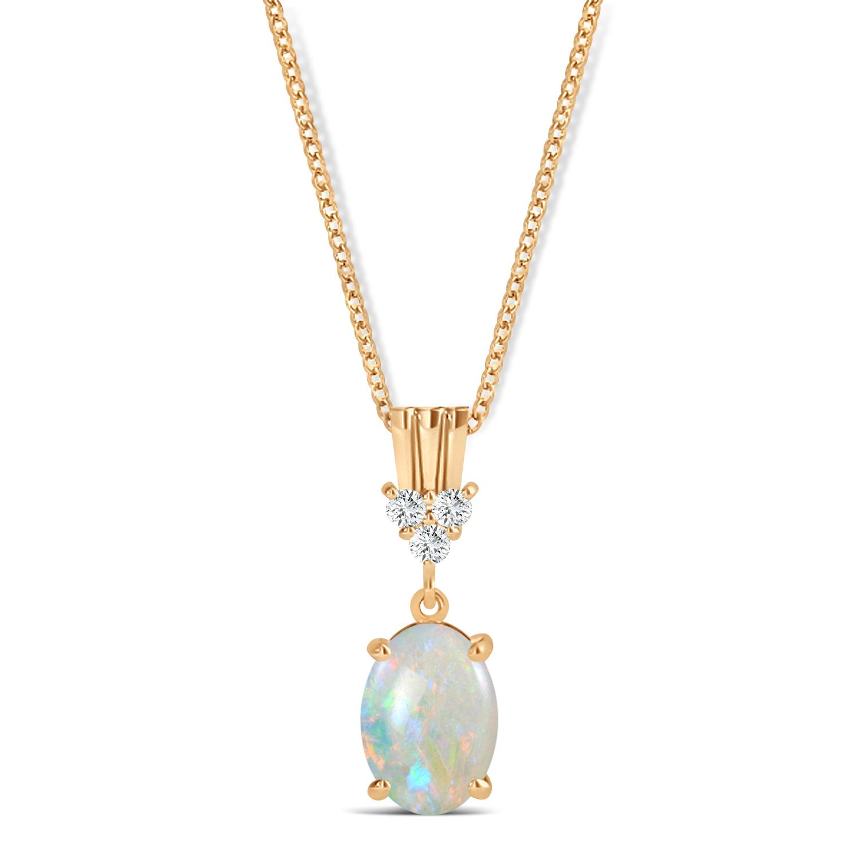 Oval Shape Opal & Diamond Pendant Necklace 14k Rose Gold (0.55ct)