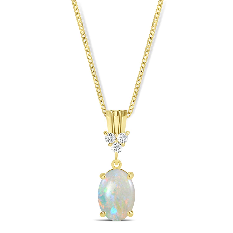 Oval Shape Opal & Diamond Pendant Necklace 14k Yellow Gold (0.55ct)