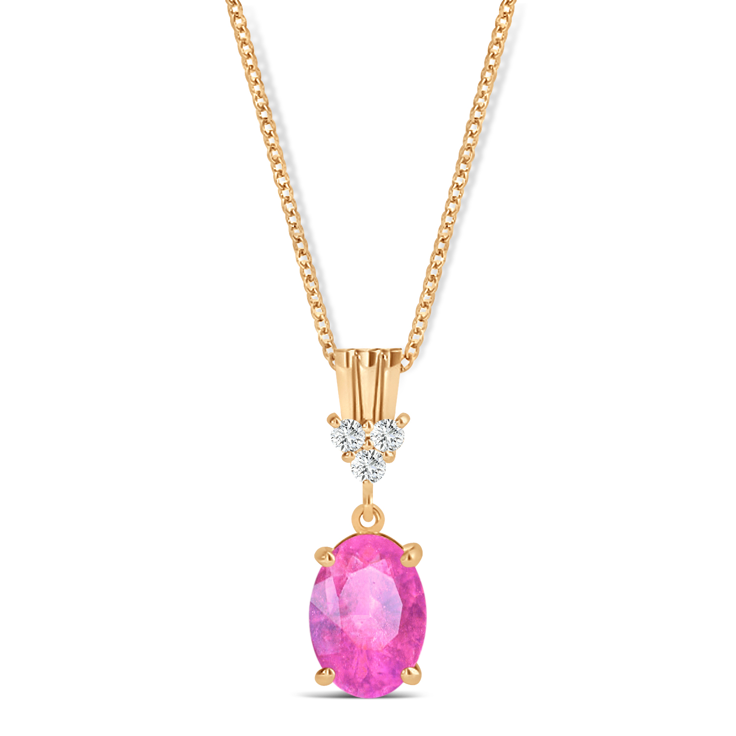 Oval Shape Pink Sapphire & Diamond Pendant Necklace 14k Rose Gold (1.05ct)