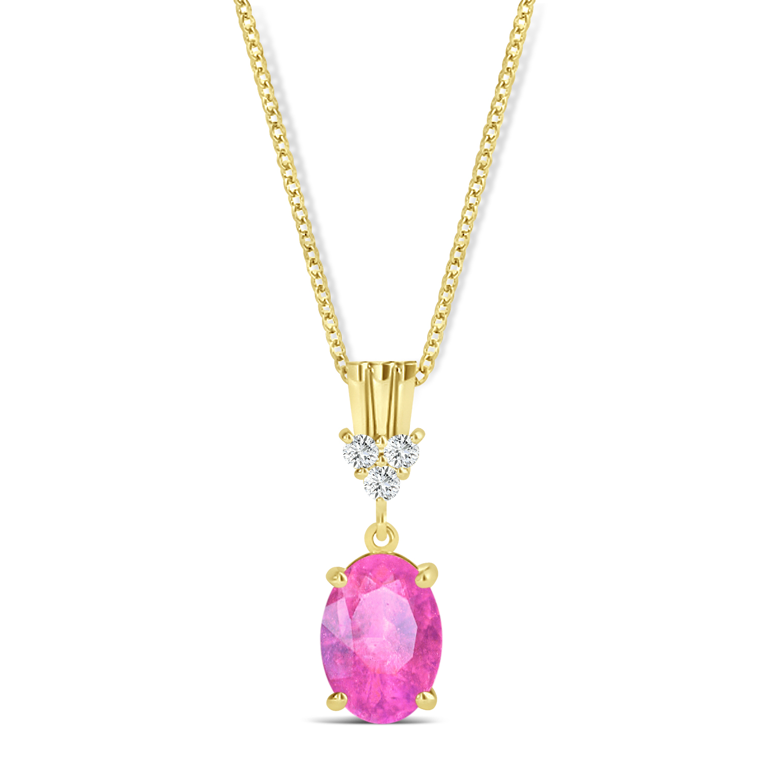 Oval Shape Pink Sapphire & Diamond Pendant Necklace 14k Yellow Gold (1.05ct)