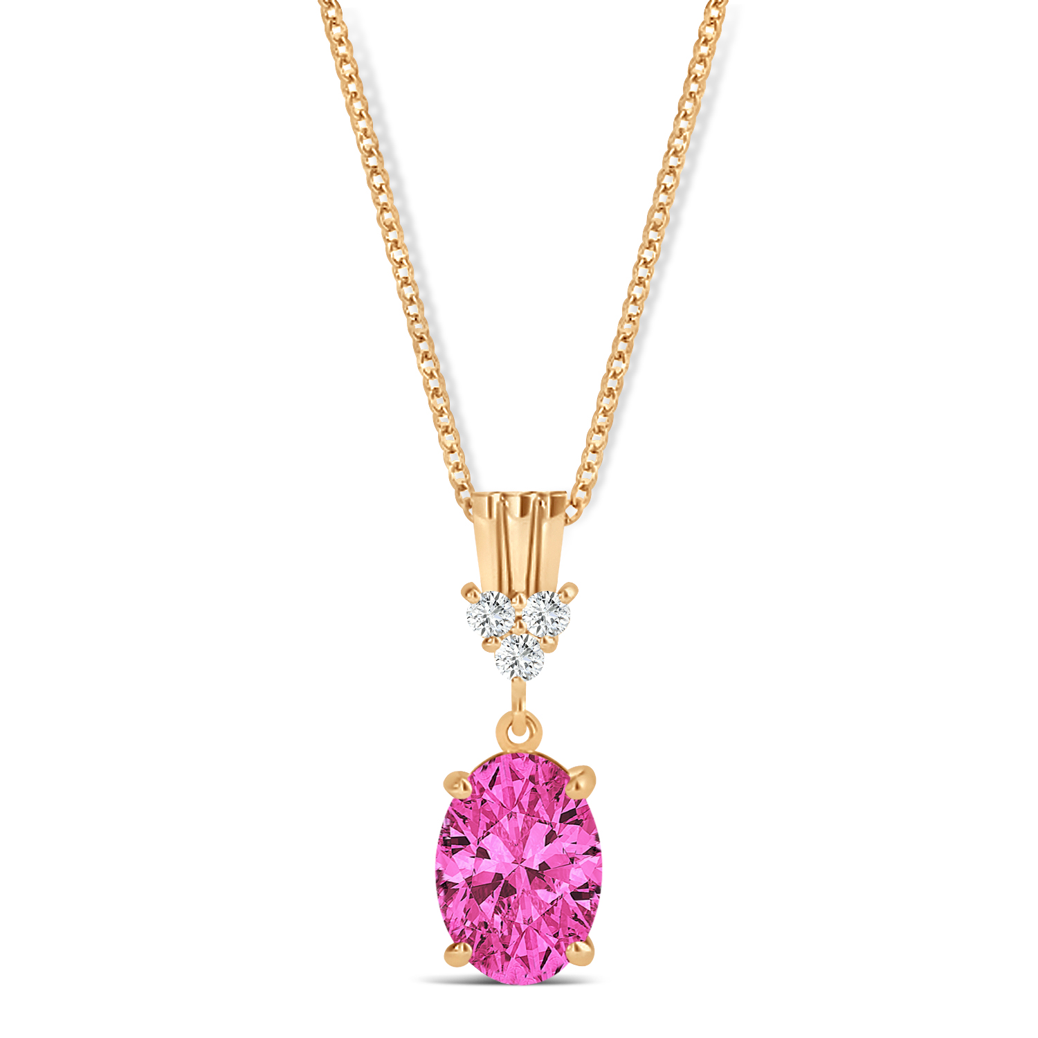 Oval Shape Pink Topaz & Diamond Pendant Necklace 14k Rose Gold (1.15ct)