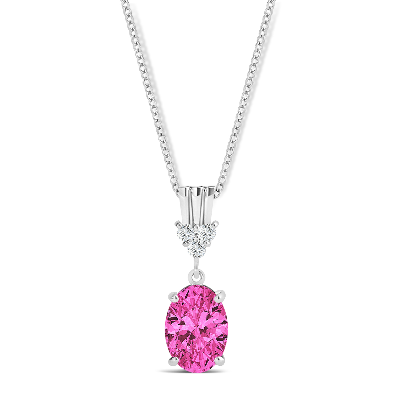 Oval Shape Pink Topaz & Diamond Pendant Necklace 14k White Gold (1.15ct)