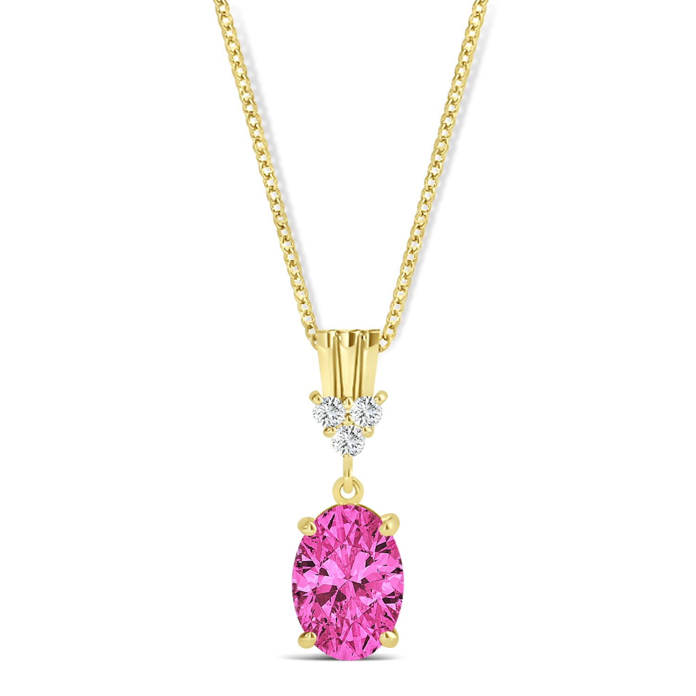 Oval Shape Pink Topaz & Diamond Pendant Necklace 14k Yellow Gold (1.15ct)