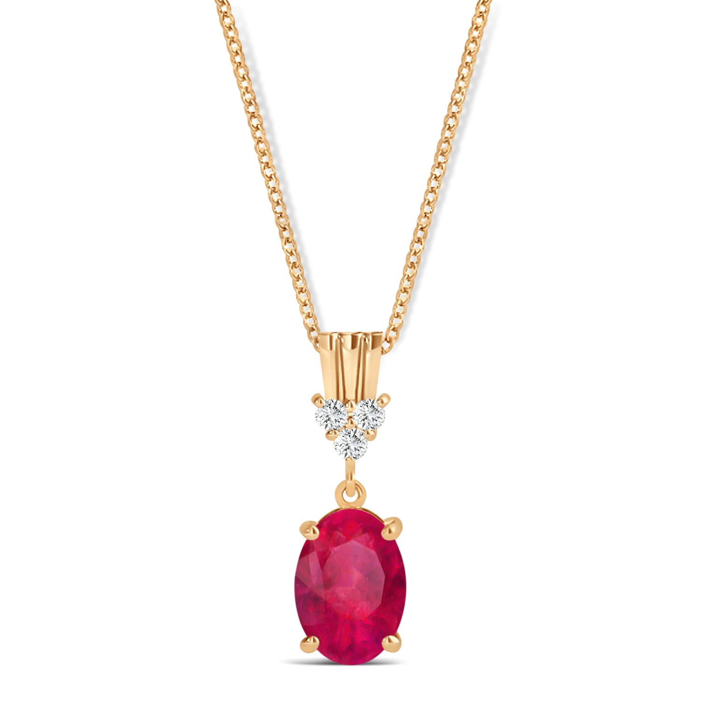 Oval Shape Ruby & Diamond Pendant Necklace 14k Rose Gold (1.10ct)