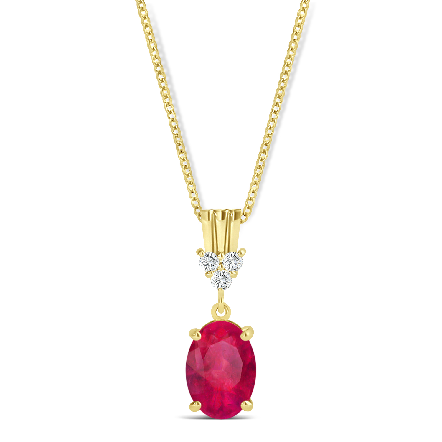 Oval Shape Ruby & Diamond Pendant Necklace 14k Yellow Gold (1.10ct)