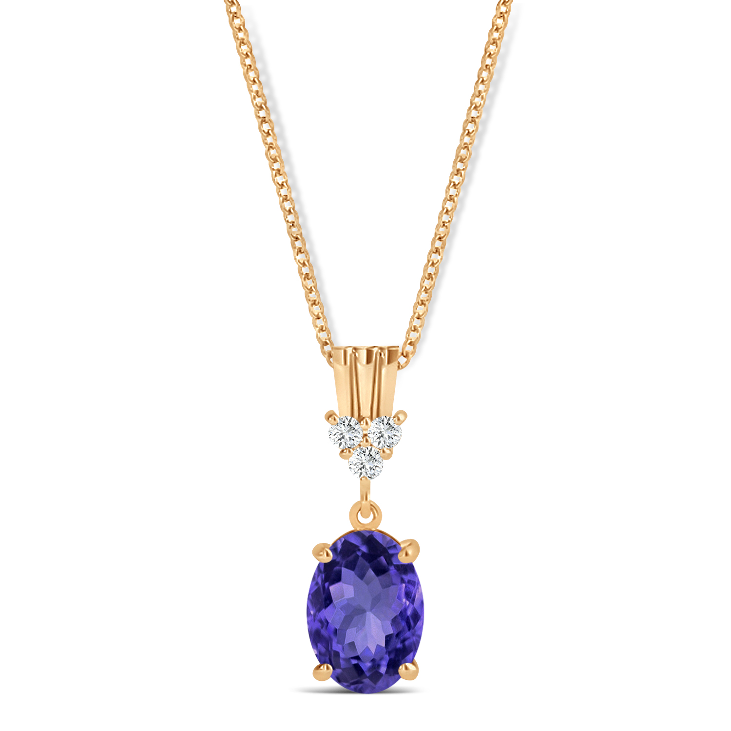 Oval Shape Tanzanite & Diamond Pendant Necklace 14k Rose Gold (0.90ct)