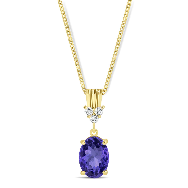 Oval Shape Tanzanite & Diamond Pendant Necklace 14k Yellow Gold (0.90ct)