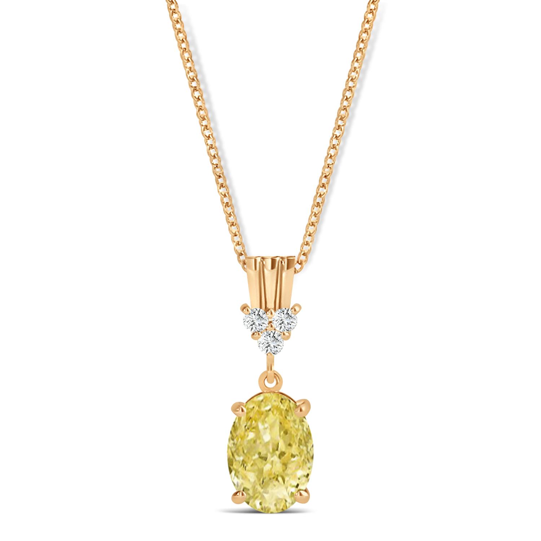 Oval Shape Yellow Diamond & Diamond Pendant Necklace 14k Rose Gold (0.80ct)